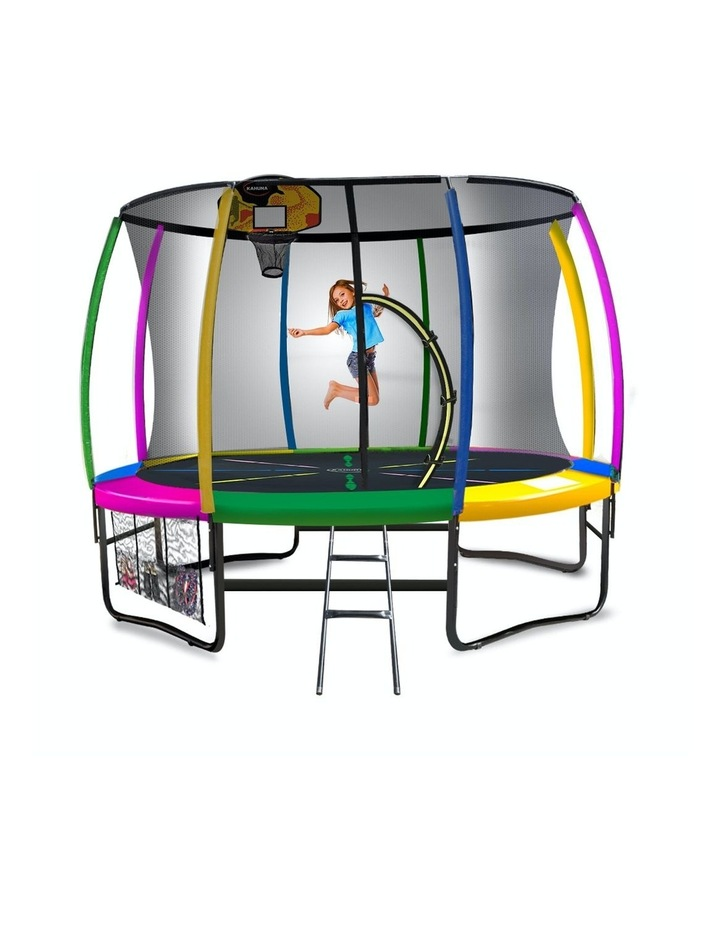 Kahuna 16ft Round Spring Trampoline Free Safety Net Pad Cover Mat Ladder Basketball Set- Rainbow image 1