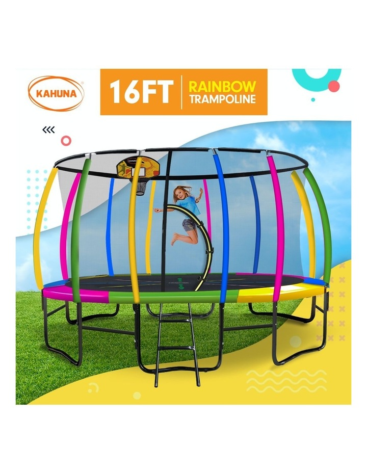 Kahuna 16ft Round Spring Trampoline Free Safety Net Pad Cover Mat Ladder Basketball Set- Rainbow image 2