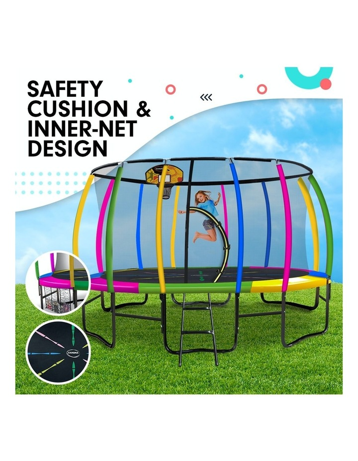 Kahuna 16ft Round Spring Trampoline Free Safety Net Pad Cover Mat Ladder Basketball Set- Rainbow image 4