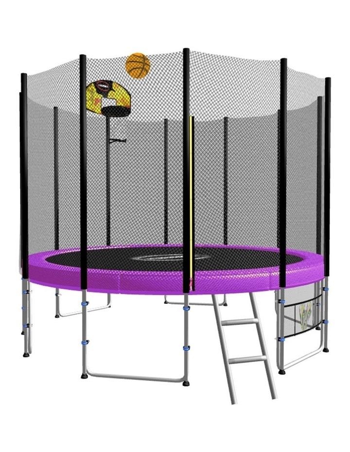 Blizzard 8ft Round Spring Trampoline Free Safety Net Pad Mat Ladder Shoe Tidy Basketball Set Purple image 1