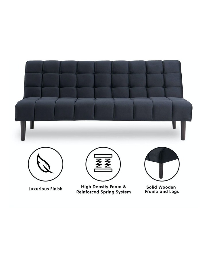 Faux Suede Fabric Sofa Bed Black image 2