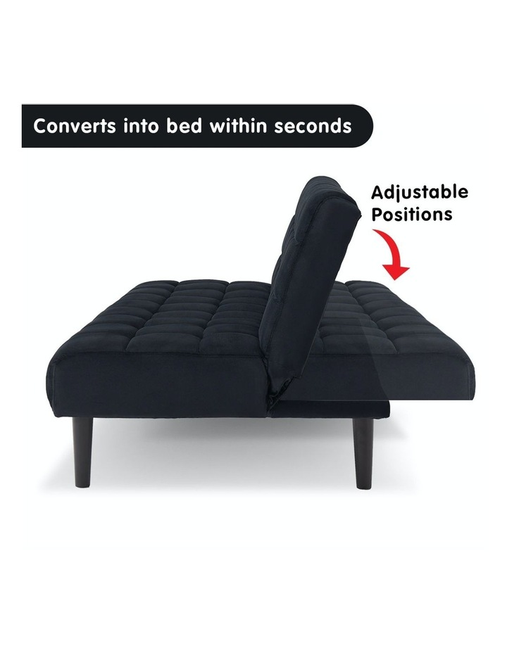 Faux Suede Fabric Sofa Bed Black image 3