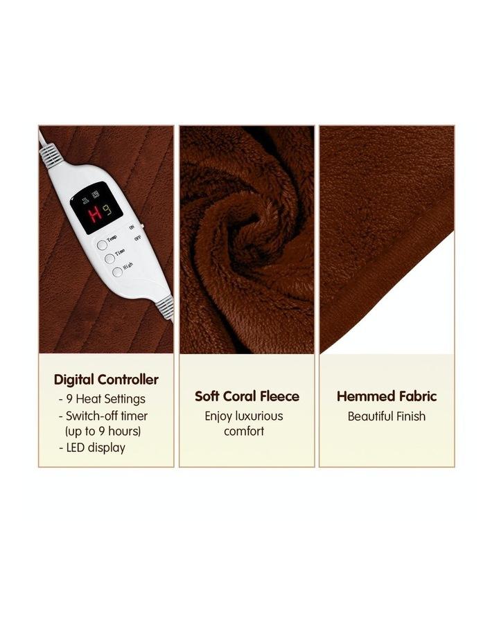 Heated Electric Blanket Throw Rug Coral Warm Fleece Winter Brown image 3