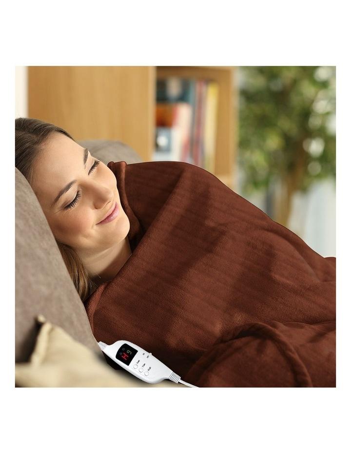 Heated Electric Blanket Throw Rug Coral Warm Fleece Winter Brown image 7