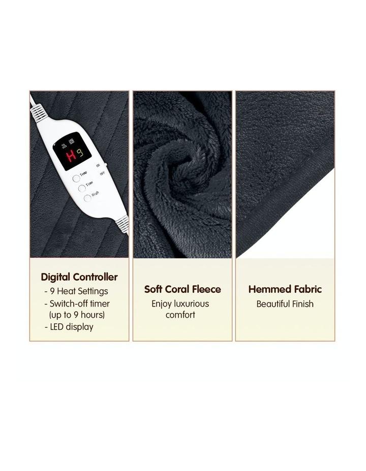 Heated Electric Blanket Throw Rug Coral Warm Fleece Winter Grey image 3