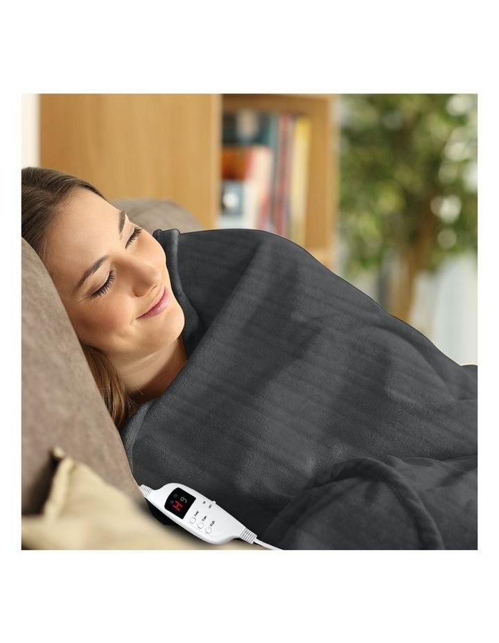 Heated Electric Blanket Throw Rug Coral Warm Fleece Winter Grey image 7
