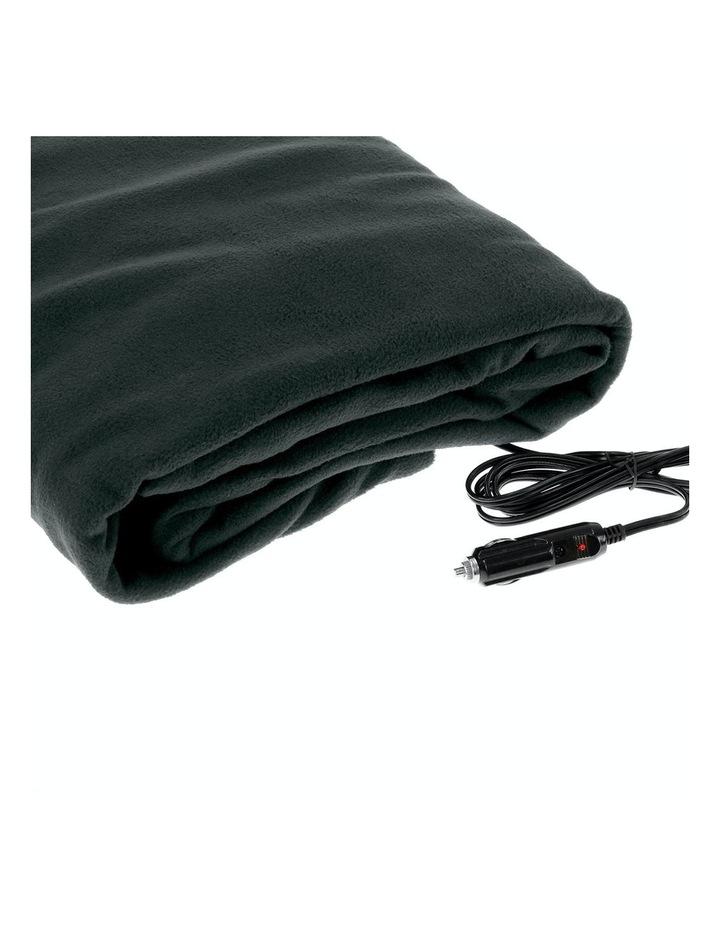 Heated Car Blanket Travel Rug Soft Caravan Fleece Electric Throw 12 Volt Dc Auto Black image 1