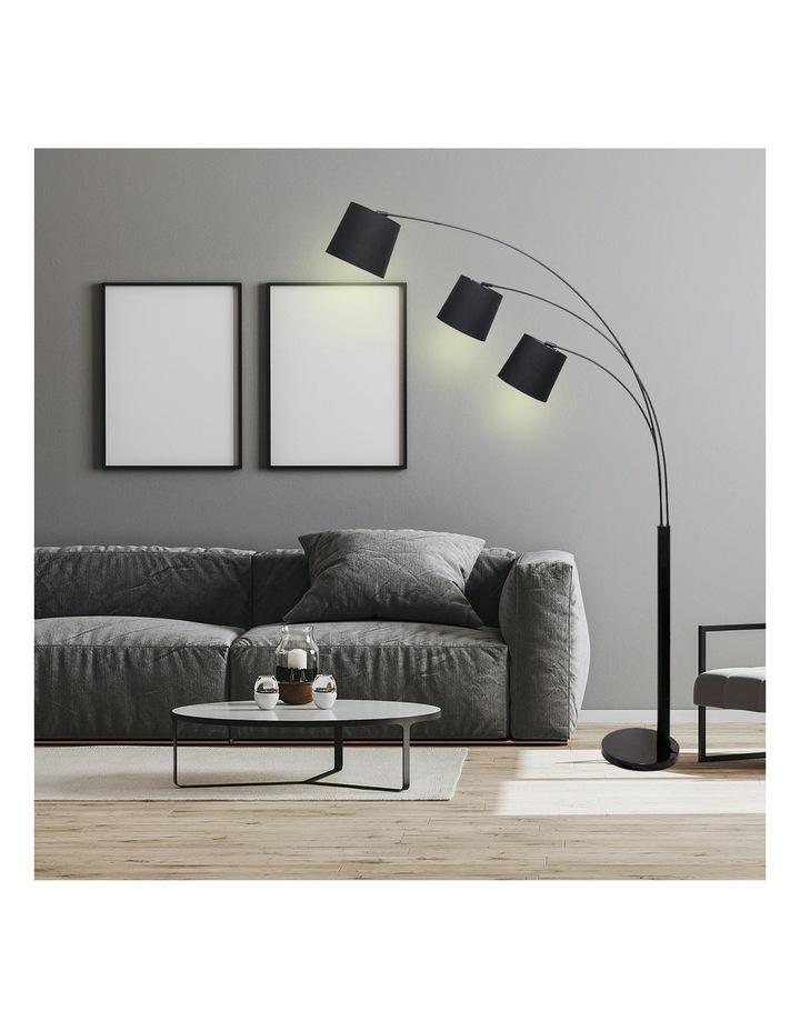 Adjustable 3-Light Tapered Shade Arc Floor Lamp Black image 2