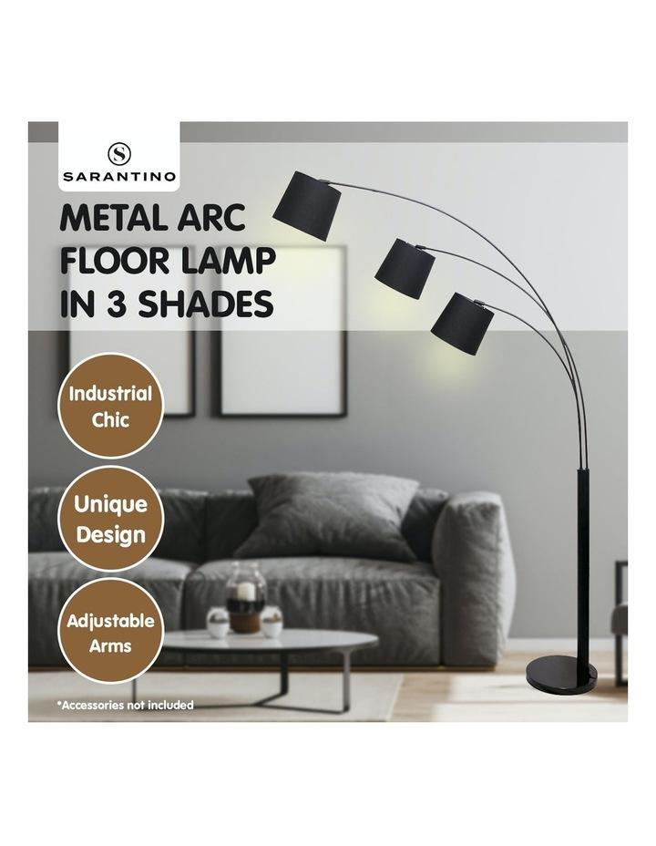 Adjustable 3-Light Tapered Shade Arc Floor Lamp Black image 3