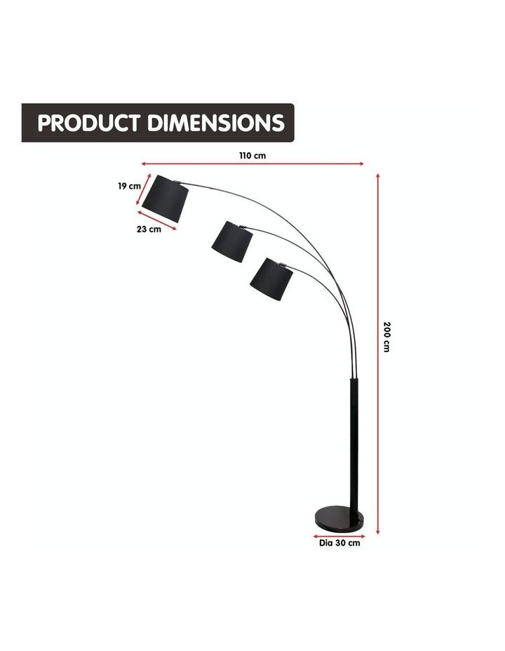 Adjustable 3-Light Tapered Shade Arc Floor Lamp Black image 4