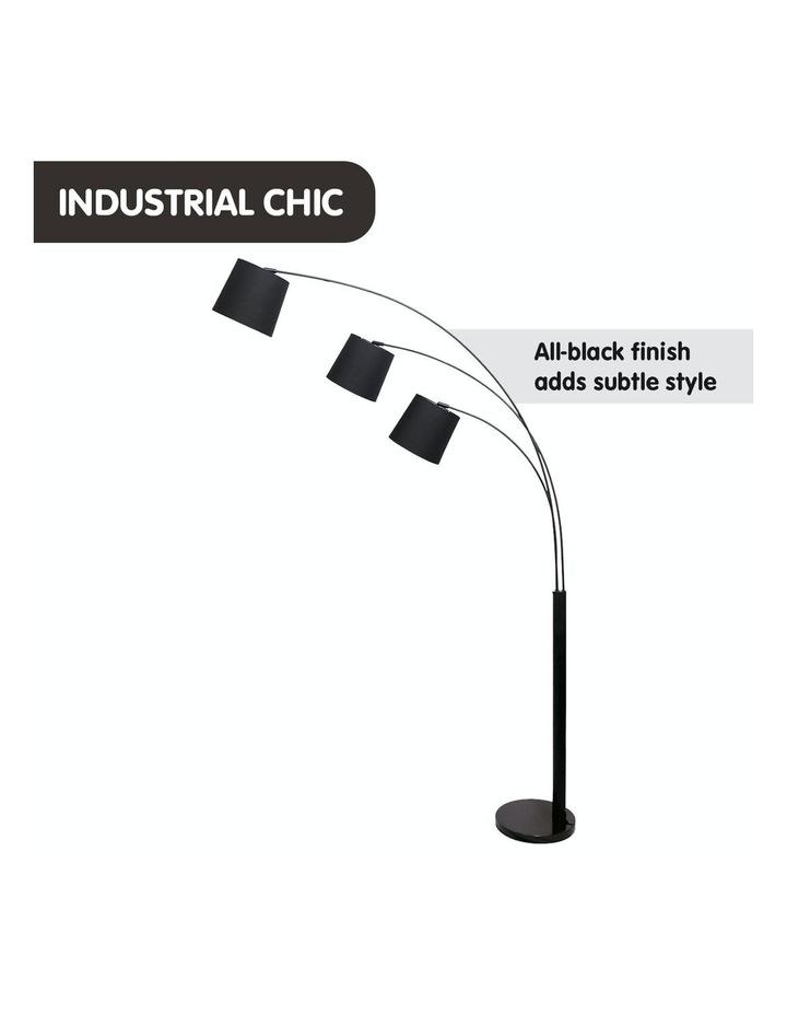 Adjustable 3-Light Tapered Shade Arc Floor Lamp Black image 5