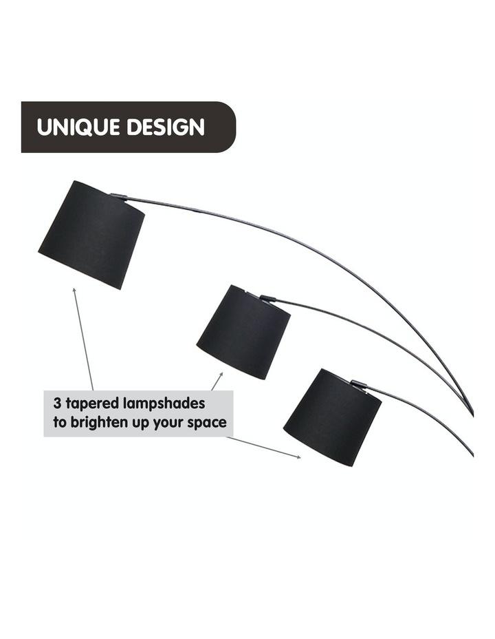 Adjustable 3-Light Tapered Shade Arc Floor Lamp Black image 6