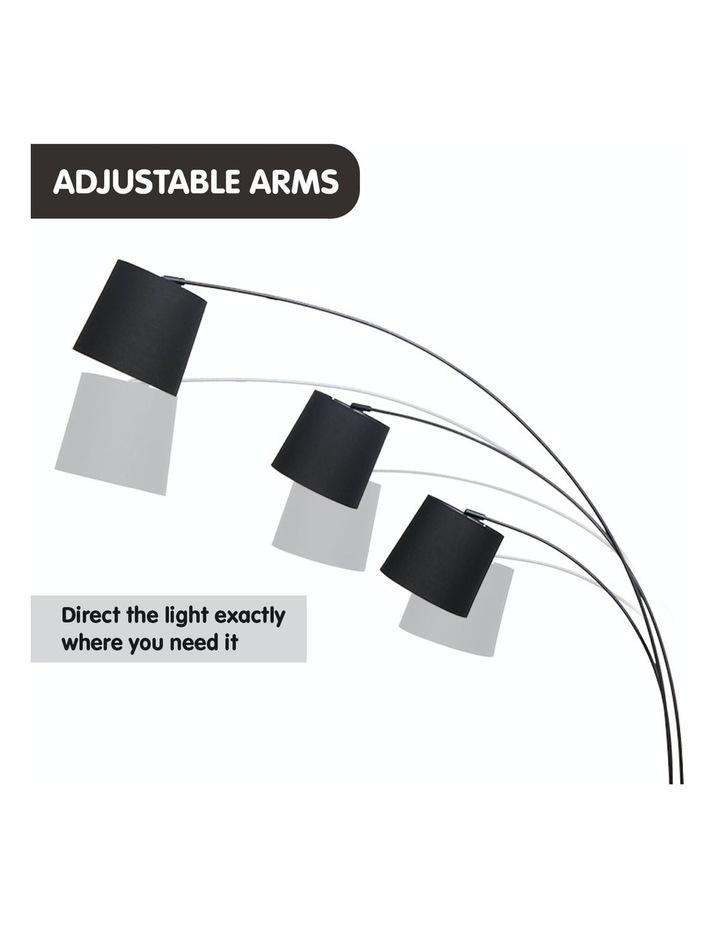 Adjustable 3-Light Tapered Shade Arc Floor Lamp Black image 7