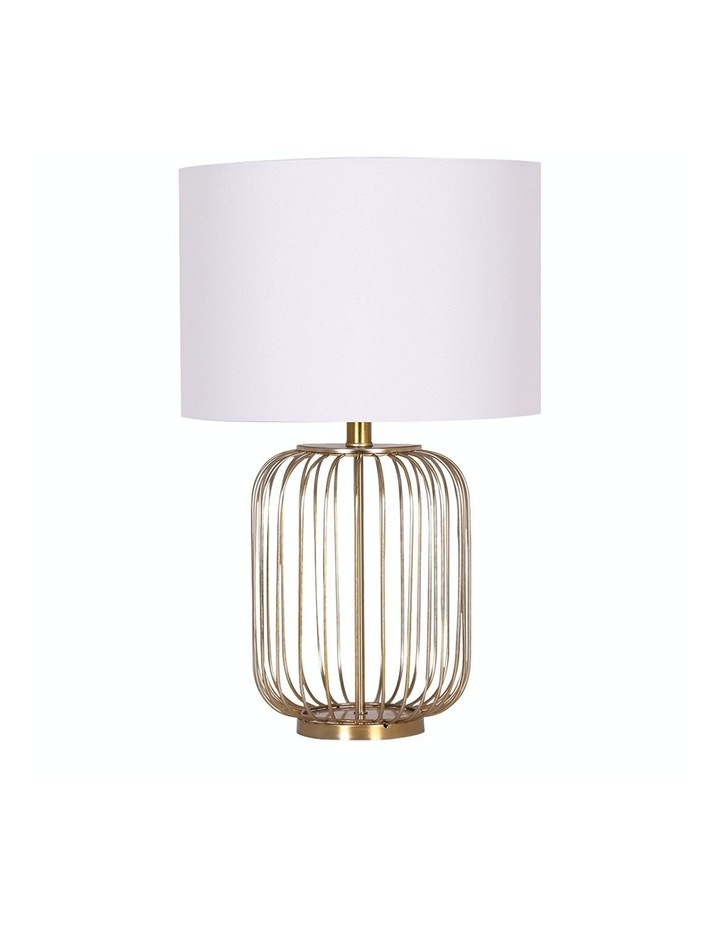 Table Lamp Rose Gold Finish with White Linen Shade image 1