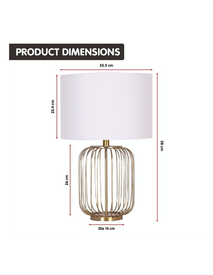 Table Lamp Rose Gold Finish with White Linen Shade image 2