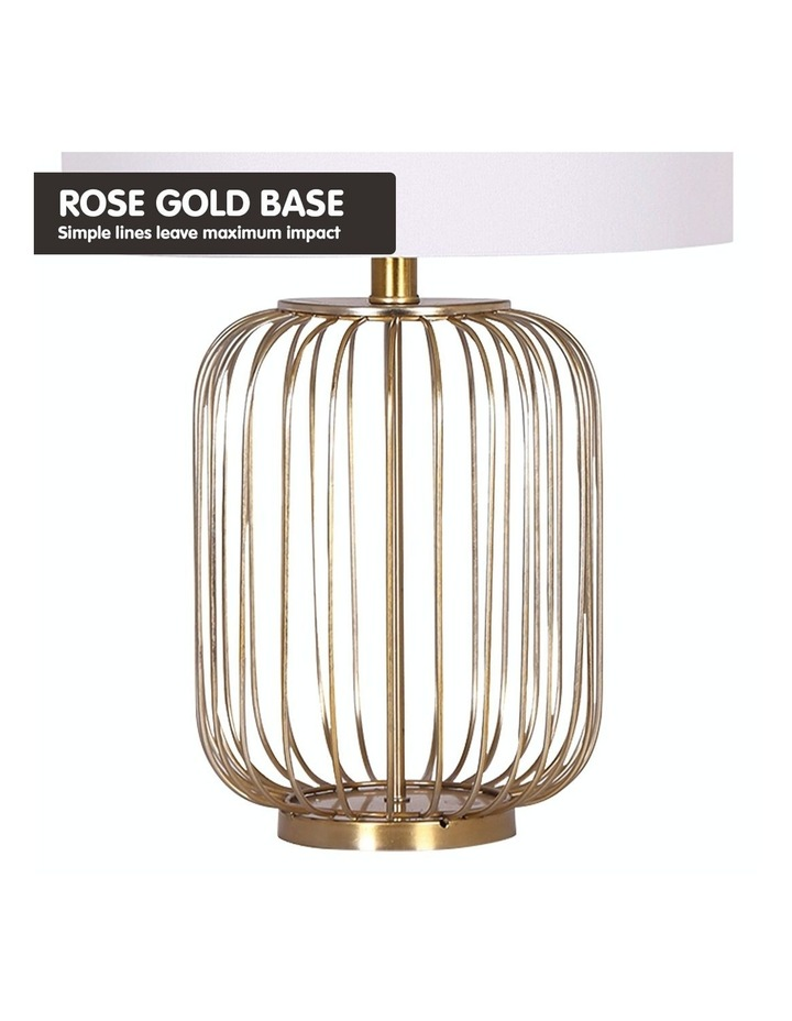 Table Lamp Rose Gold Finish with White Linen Shade image 4