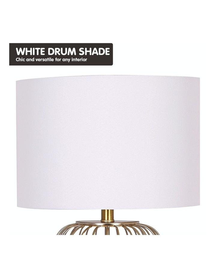 Table Lamp Rose Gold Finish with White Linen Shade image 5