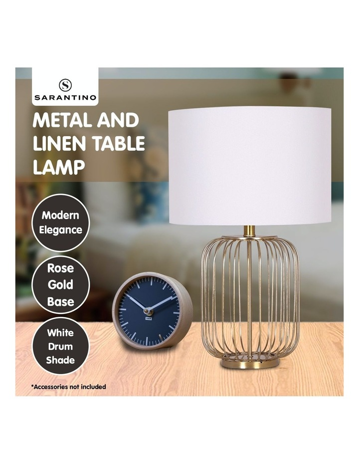 Table Lamp Rose Gold Finish with White Linen Shade image 7