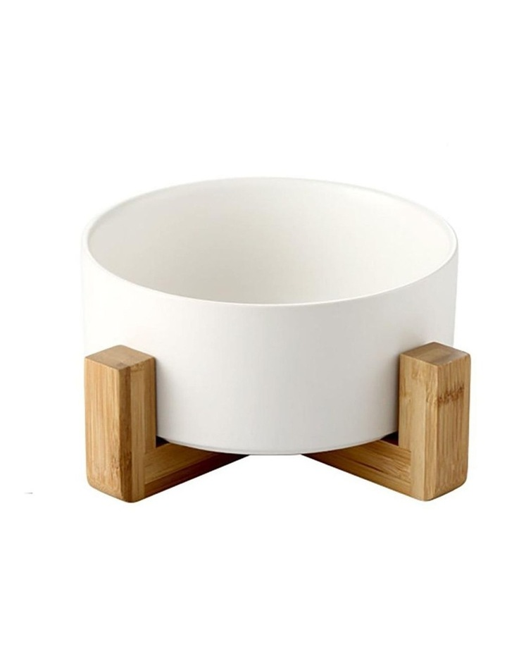 Ceramic Bowl with Wooden Stand in White image 1