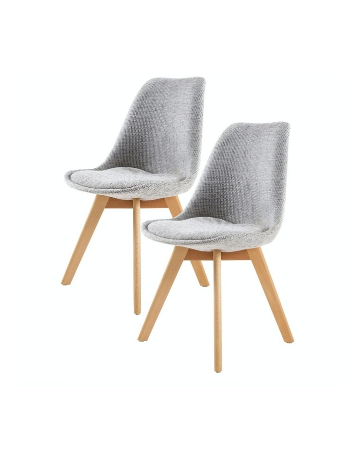Padded Seat Dining Chair Fabric - Grey x2 image 1