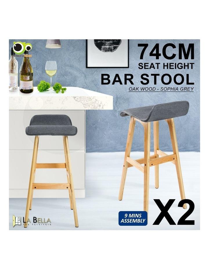 74cm Oak Wood Bar Stool Fabric Sophia- Grey x2 image 2
