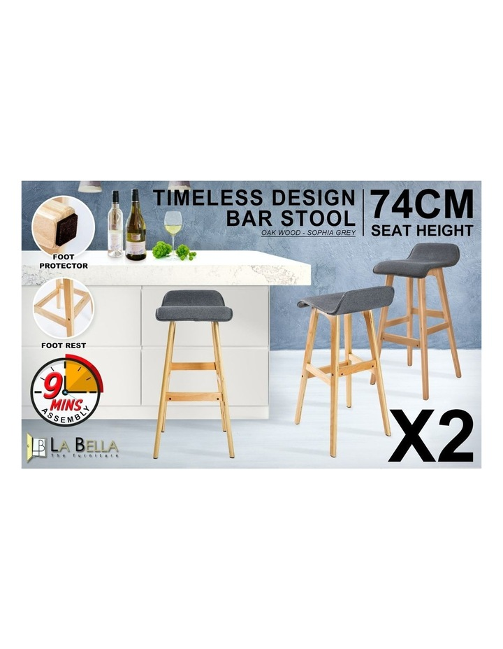 74cm Oak Wood Bar Stool Fabric Sophia- Grey x2 image 3