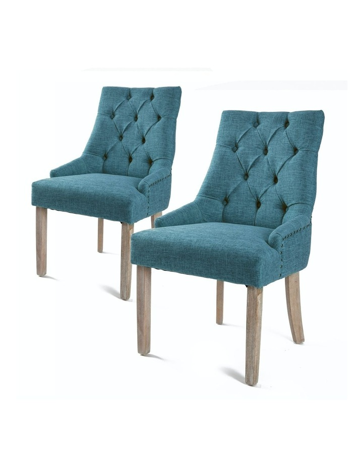 2X French Provincial Oak Leg Chair AMOUR - DARK BLUE image 1