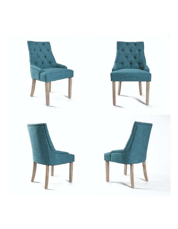 2X French Provincial Oak Leg Chair AMOUR - DARK BLUE image 5