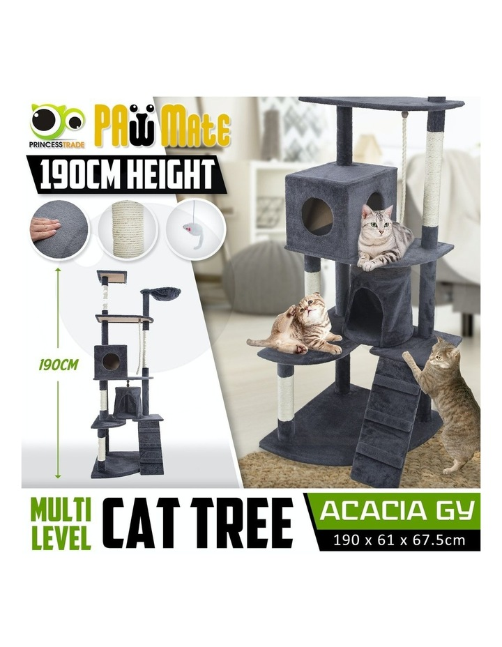 190cm Cat Tree Scratcher Acacia - Grey image 2
