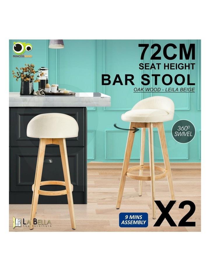 72cm Oak Wood Bar Stool Fabric Leila - Beige X2 image 2