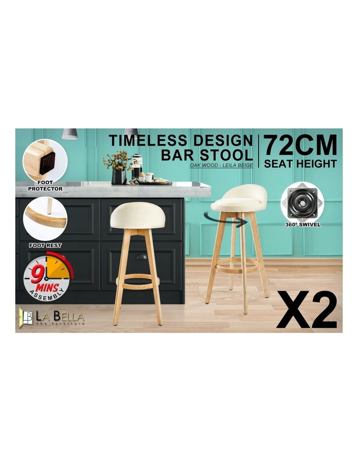 72cm Oak Wood Bar Stool Fabric Leila - Beige X2 image 3