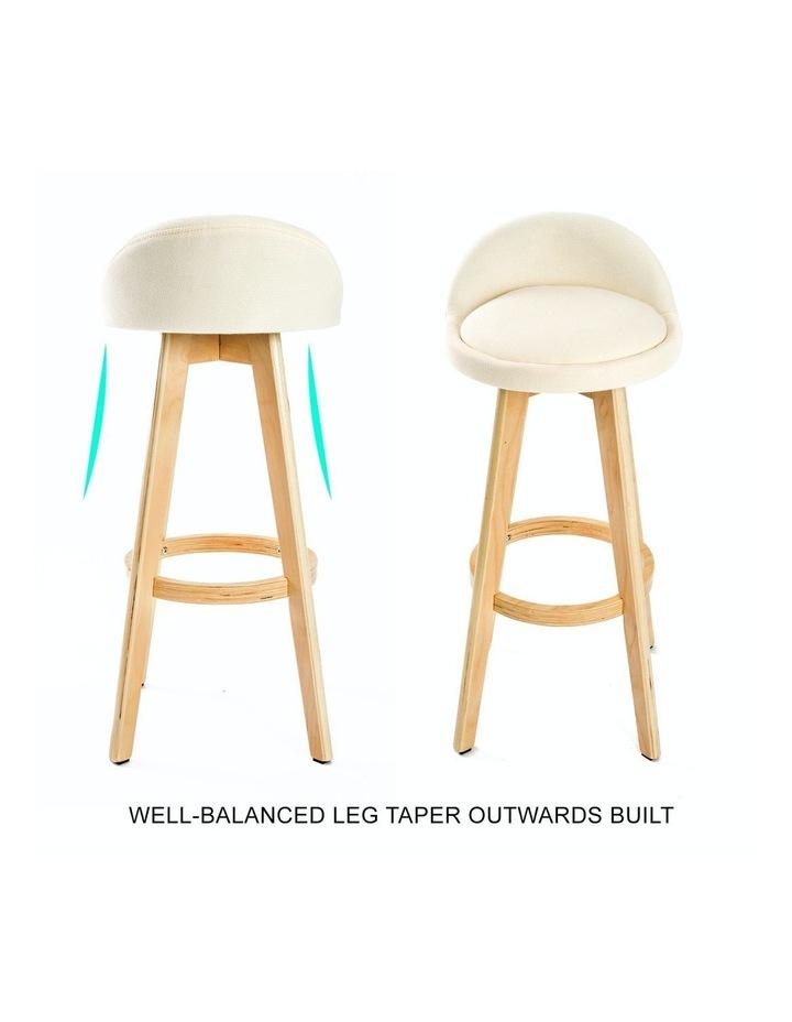 72cm Oak Wood Bar Stool Fabric Leila - Beige X2 image 5