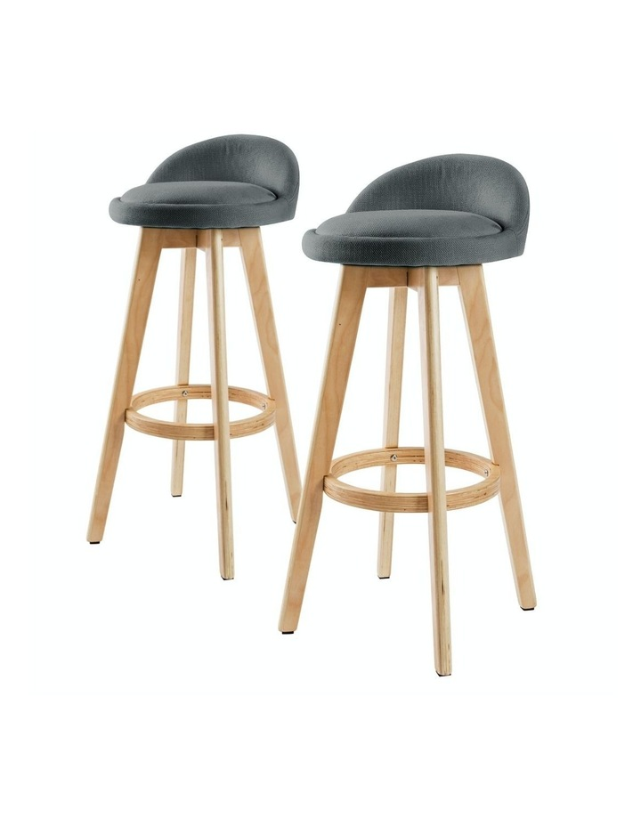 2X 72cm Oak Wood Bar Stool Fabric LEILA - GREY image 1