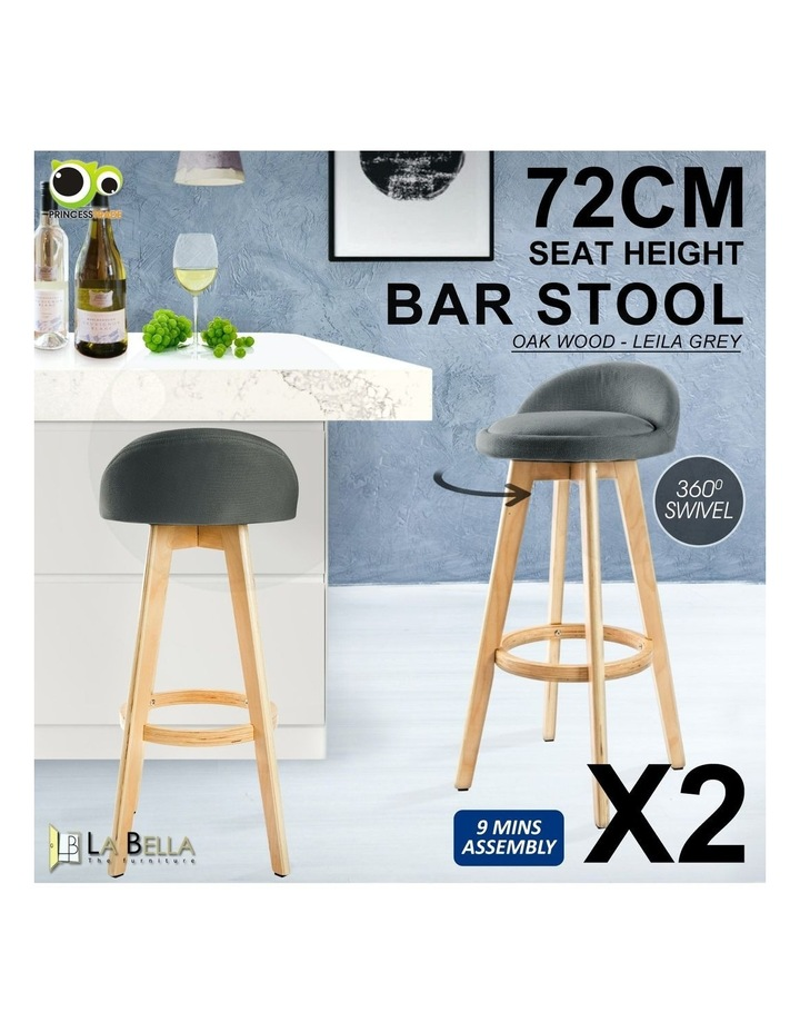 2X 72cm Oak Wood Bar Stool Fabric LEILA - GREY image 2