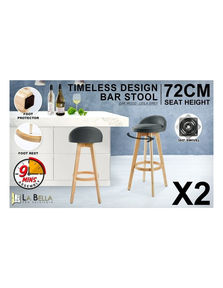 2X 72cm Oak Wood Bar Stool Fabric LEILA - GREY image 3