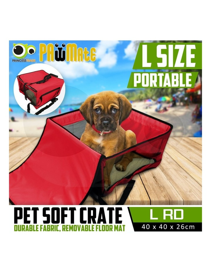 Large Portable Pet Booster Soft Crate - RED image 2