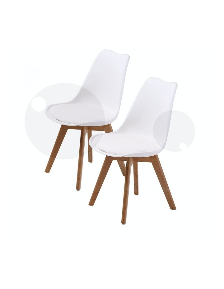 2X Padded Seat Dining Chair - White image 1