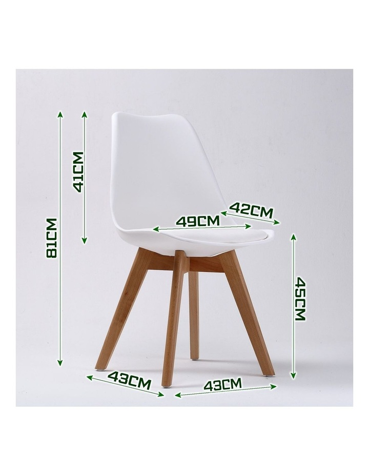 2X Padded Seat Dining Chair - White image 3