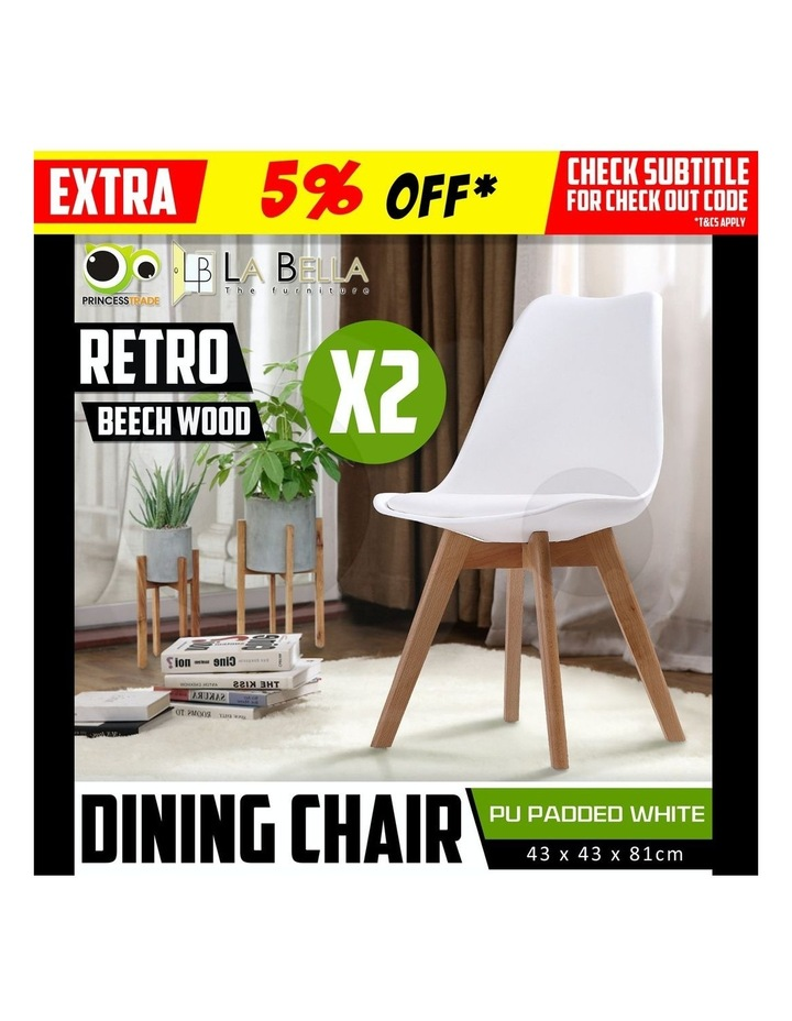 2X Padded Seat Dining Chair - White image 4