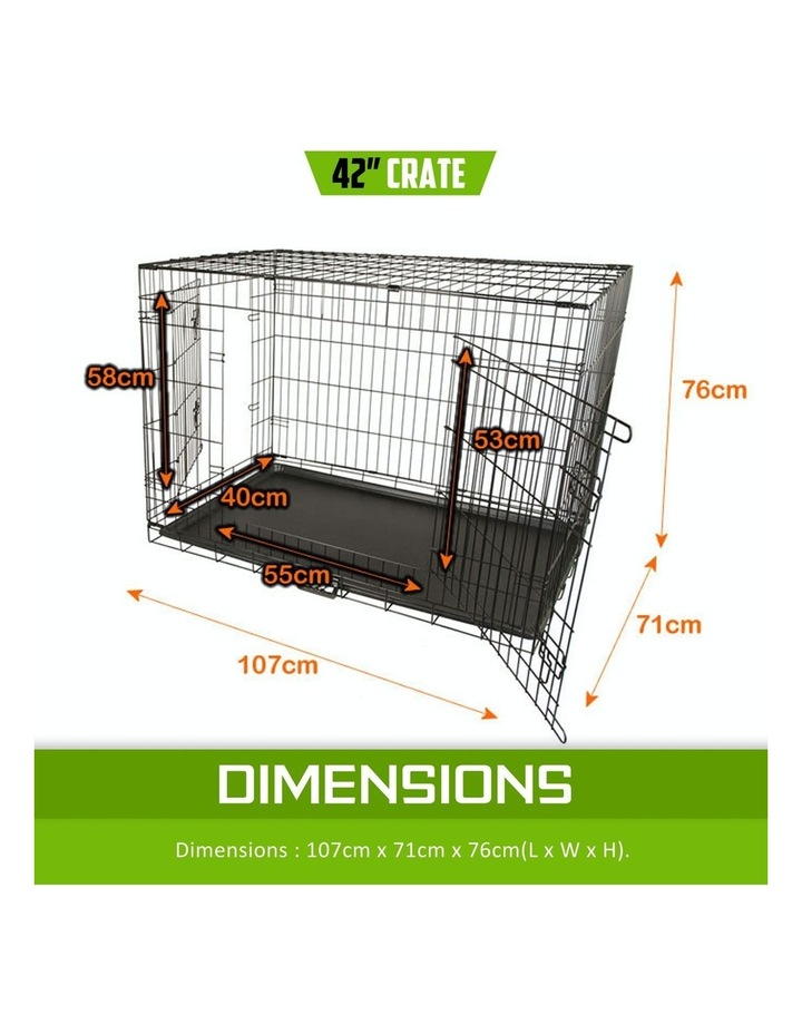 """42"""" Foldable Wire Dog Cage with Tray image 2"""