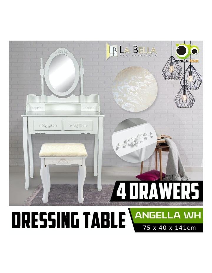 1 Mirror 4 Drawers Dressing Table - Angella White image 2