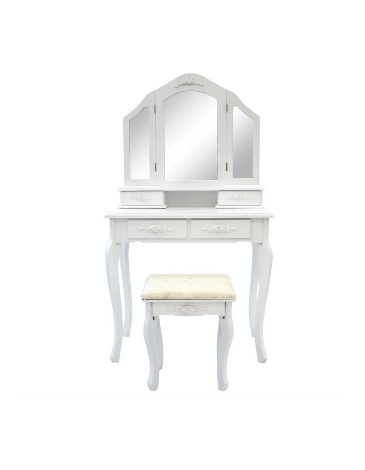 3 Mirrors 4 Drawers Dressing Table - Diana - White image 4