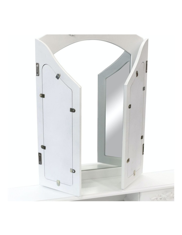 3 Mirrors 4 Drawers Dressing Table - Diana - White image 5
