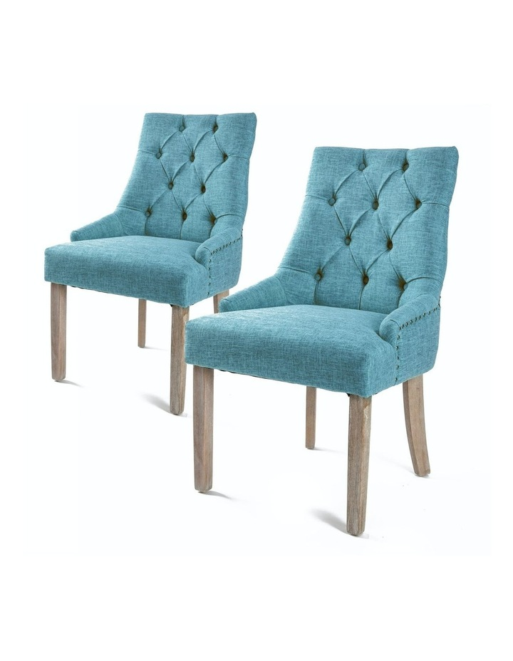 2X French Provincial Oak Leg Chair Amour- Blue image 1