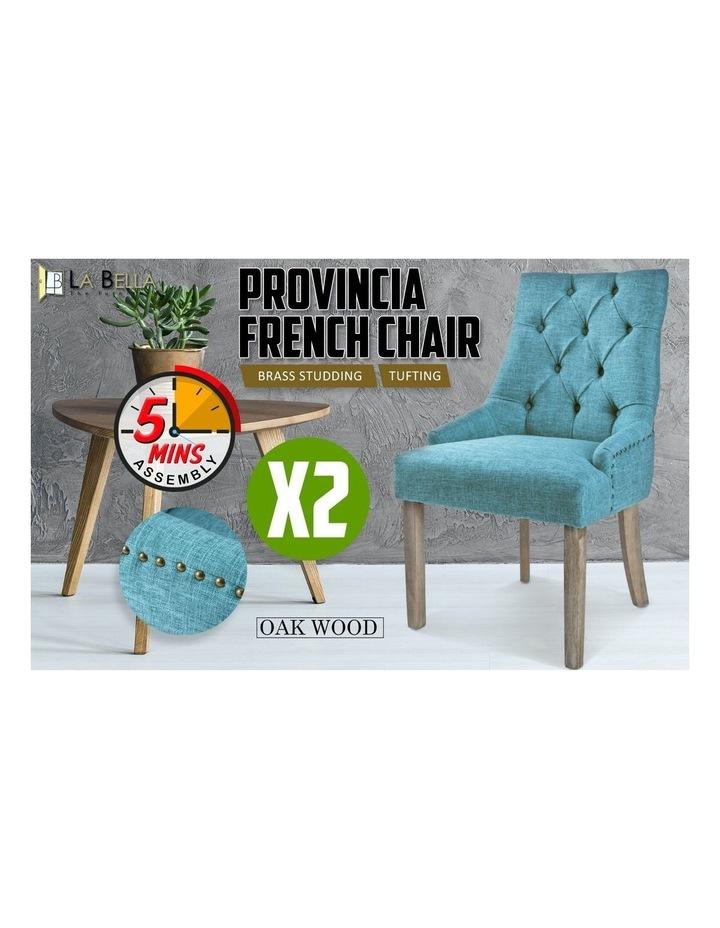 2X French Provincial Oak Leg Chair Amour- Blue image 7