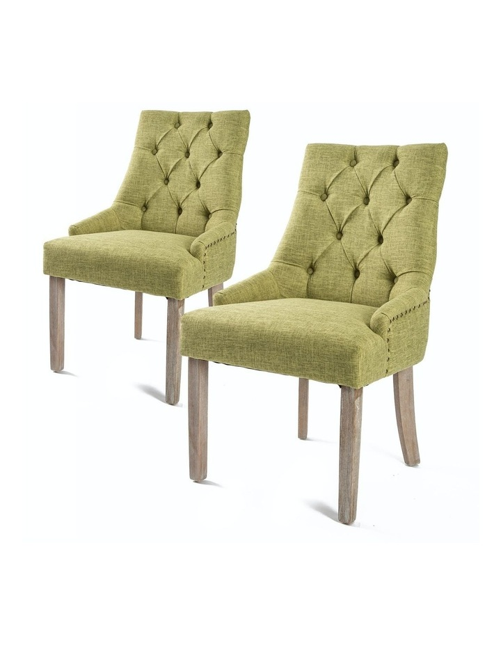 French Provincial Oak Leg Chair Amour - Green X2 image 1