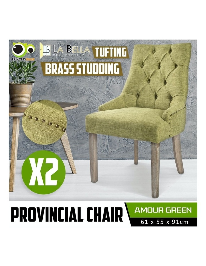 French Provincial Oak Leg Chair Amour - Green X2 image 2