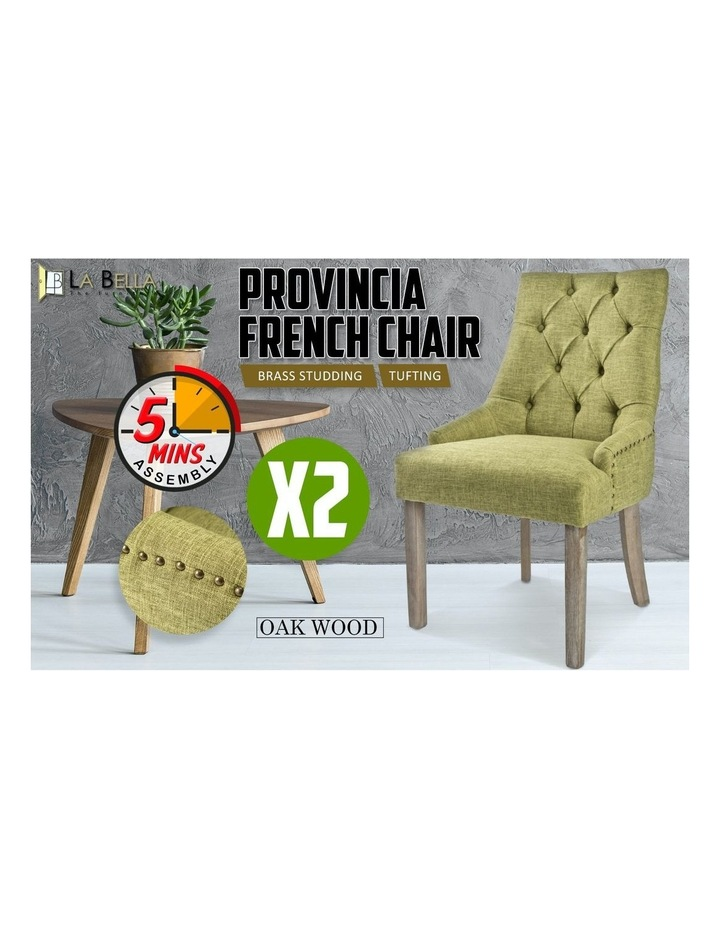 French Provincial Oak Leg Chair Amour - Green X2 image 3