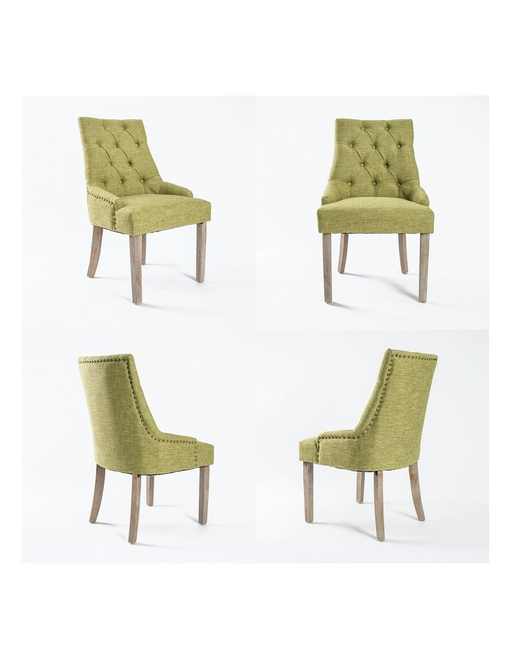 French Provincial Oak Leg Chair Amour - Green X2 image 5