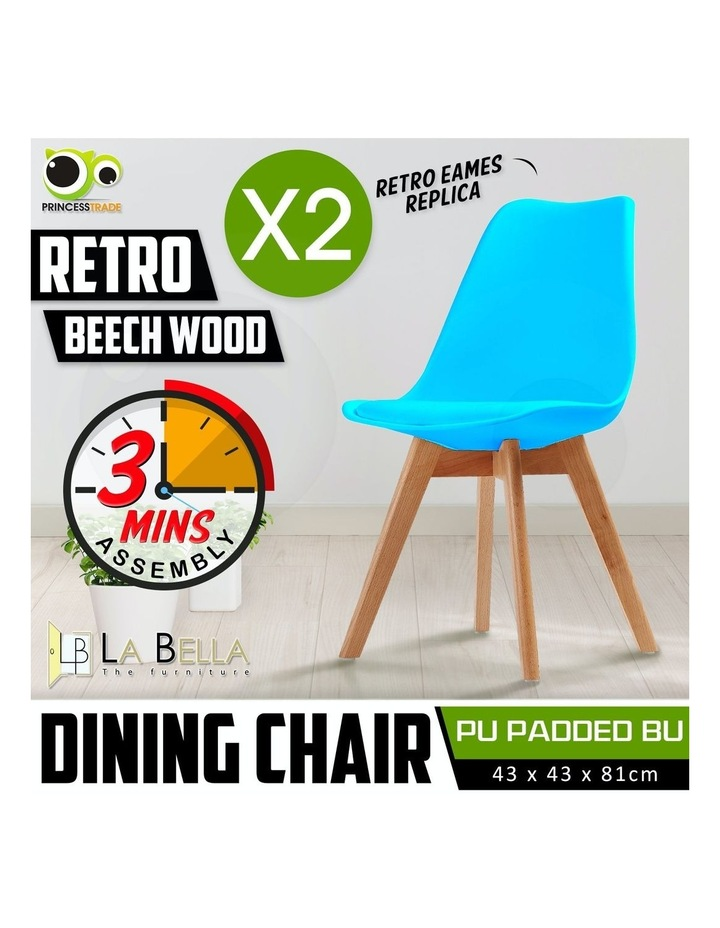 2X Padded Seat Dining Chair - BLUE image 2
